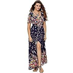 34b24f3068 Aofur Women's Vintage A-line Swing Cotton Dress Maxi Party Ev ..