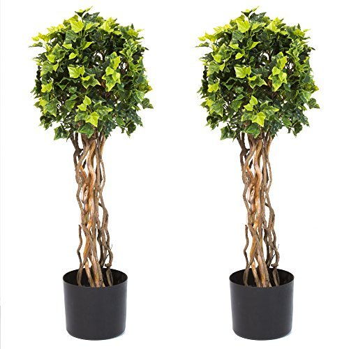 Pure Garden 30 Inch English Ivy Single Ball Topiary Tree - Set of 2 by Pure Garden