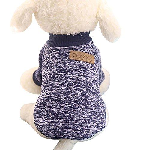 Classic Leinen Hut (Igemy Haustier Dog Puppy Classic Pullover Fleece Pullover Kleidung Warm Winter (S, Marine))