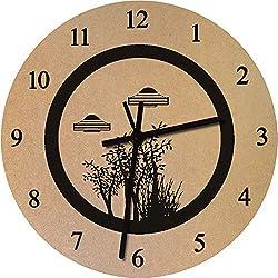 Azeeda 275mm 'Árboles y Ovnis' Reloj de Pared Grande de MDF (CK00017269)