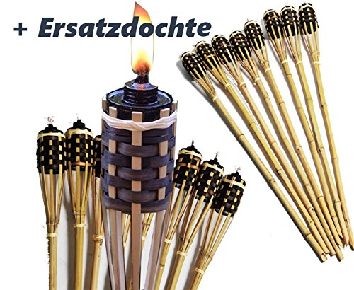 8 Stück Bambusfackel Natur mit verblendeter Lampenfassung Gartenfackel 90 cm ,mit eingesetztem Docht inklusive gratis Ersatzdochte ( Fackel + Ersatz Docht )