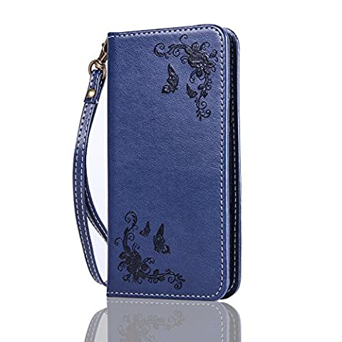 Samsung Galaxy A3 2017 Wallet Case,Samsung Galaxy A3 2017 Leather Case,Cozy Hut Samsung Galaxy A3 2017 Phone Case Butterfly Rose 3D Elegant PU Wallet Stand Function Leather Case Smartphone Slim Bookstyle with Magnetic Closure Card Slot Holder and Lanyard Strap Carrying Protective Case for Samsung Galaxy A3 2017 - Navy blue
