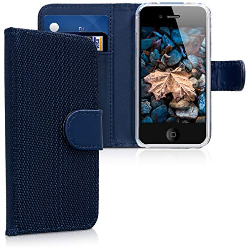 kwmobile Apple iPhone 4 / 4S Hülle - Nylon Handyhülle Wallet Handy Case für Apple iPhone 4 / 4S mit Standfunktion - Dunkelblau