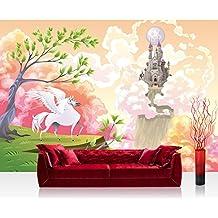 Fotomural, 300x 210cm Premium Plus fotográfico pintado–cuadro de pared–Magic Pegasus–Habitación de los Niños Niños pintado niña Unicornio cuento Pastel–No. 086