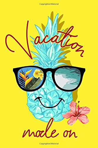 Vacation Mode On: Tropical Theme Notebook With Cute Pineapple Wearing Sunglasses