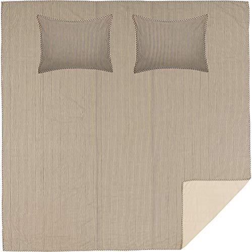 VHC Brands Farmhouse Bedding Sawyer Mill Ticking Cotton Pre-Washed Striped Sham Queen Quilt Set, Dark Creme White -