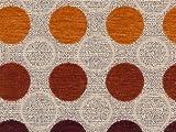 Möbelstoff Stage Point 4004 (orange, rot, braun, beige) - modernes Chenille-Flachgewebe (große Punkte, gemustert), Polsterstoff, Stoff, Bezugsstoff, Eckbank, Couch, Sessel, Hussen, Kissen