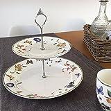 Etagere 2-stöckig FRUIT & FLOWERS Porzellan Tischdekoration gedeckter Tisch
