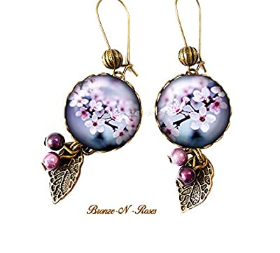 Boucles d'oreilles * Sakura * Nature cabochon bronze fleur de cerisier violet mauve Japon