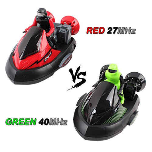 deAO RC Carrera a Coches de Choque Teledirigidos *Verde vs Rojo* -  Set de 2 Coches Acrobáticos Rojo 27MHz / Verde 40MHz