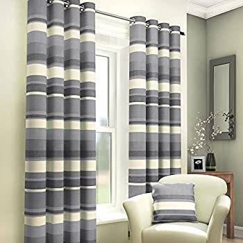 Striped Charcoal Silver Grey Ring Top Eyelet Fully Lined Pair Of Ready Made  Curtains (66  Grey Striped Curtains
