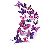 TUPARKA 36 Pièces 3D Papillon Stickers Muraux Mur Papillons Filles Accessoires de Chambre, Violet