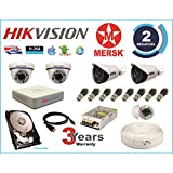 Hikvision 4 Ch Turbo HD Dvr & Mersk Full HD (2MP) CCTV Camera Kit with All Required Accessories (2 TB Hard Disk) Note : No Installation Service