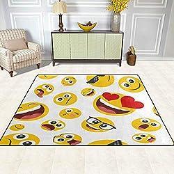 GuoEY Alfombras alfombras Mat 4'x5', Funny Emoji Emoticono patrón Antideslizante de poliéster Salón Dormitorio Comedor Alfombra Felpudo de Entrada a la decoración del hogar