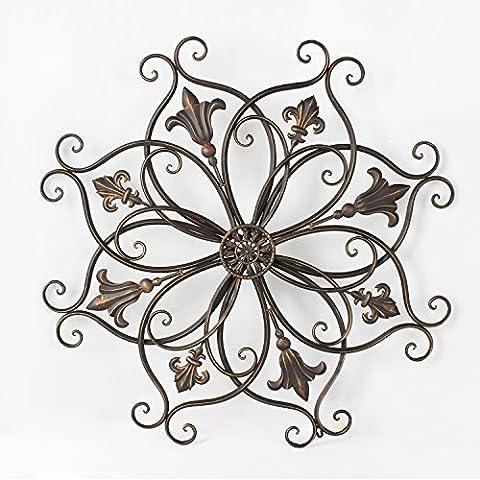 Adeco Decorative Bronze-Color Iron Wall Hanging Decor Widget, Round Fleur-de-Lis Starburst fleur de lis Design by Adeco