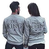 Liebespaar Hoodie Pärchen Pullover Partner Pullis King and Queen Geschenke Für Paare Sweater Sweatshirt Pulli Kpuzenpullover Grau