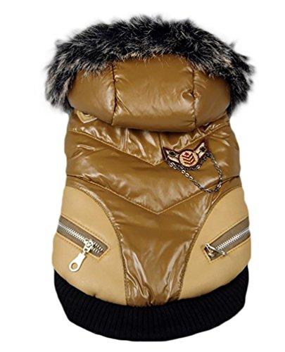 YiJee Cane Giubbotto Imbottito Di Cotone Abbigliamento Con Cappuccio Cappotto Senza Maniche Giacca Marrone XL