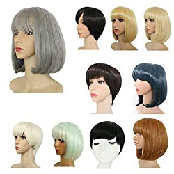 Haironline Bob Style Wig Disco Party Short Straight Bang Hair Heat Resistant Full Wig