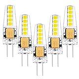 1819 5er G4 LED 2W Lampe Birne, high Power 2835 Chip gleichmäßige Beleuchtung, hohe CRI 85Ra, super mini Ø 10mm 6000K Kühles Weiß, 210LM Ersetzt 20W Halogenlampe AC DC 12V Abstrahlwinkel 360º