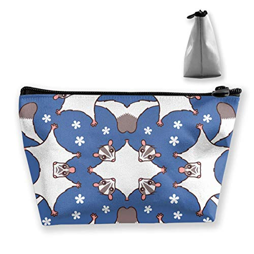 Travel Makeup Bag - Sweet Sugar Glider with Flowers Makeup Pouch Toiletry Storage Clutch Organizer with Zipper for Women & Men -