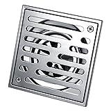 Duschablauf quadratisch, Edelstahl, geruchsneutral, für Badezimmer, groß, 110 x 110 / 150 x 150 mm (Größe: 110 x 110 mm).