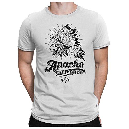 PAPAYANA - Apache-Skull - Herren Fun T-Shirt - Indian Apparel Motorcycle Biker - XL Weiß - Indian Motorcycle T-shirt