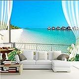 Pbbzl Benutzerdefinierte 3D Fototapeten Wandmalereien Malediven 3D Stereoskopischen Fenster Balkon Strand Meerblick Hintergrund Wandbild Vliestapete-120X100Cm