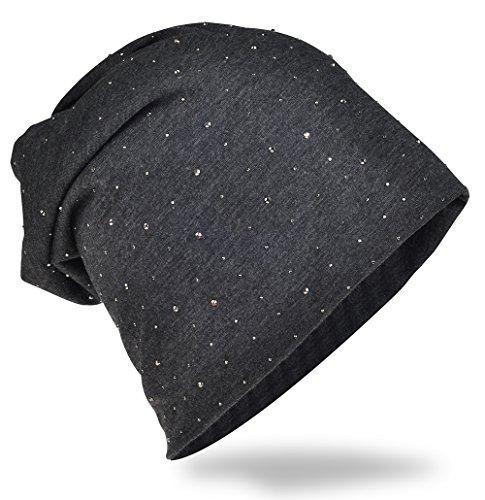 Jersey Slouch Beanie Long-Berretto con elegante strass borchie applicazione Unisex Uni colore: Uomo da Donna Trend Anthrazit taglia unica