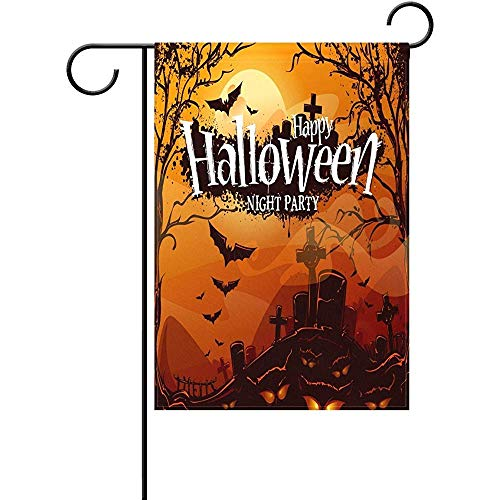 Mesllings Gloomy Night Withered Trees Halloween Garden Flagge Banner 12