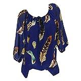 Bluse Damen Langarmshirt Frauen Feder Drucken Pullover V Ausschnitt Bluse Pullover Tops Beiläufige Übergröße Shirt Oberteile ABsoar