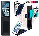 BlackBerry DTEK 50 Hülle in blau - innovative 4 in 1 Handyhülle - Anti-Gravity Wandhalterung KFZ Halterung Tischaufsteller Schutzhülle - Handyhalterung für Auto und Wand ohne Werkzeug oder Kleber - Case Cover Tasche Etui Bumper für das Original BlackBerry DTEK 50 von reboon