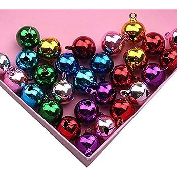 10 PCS color/és Mini Jingle Bells de No/ël Grelots en m/étal pour Collier pour Chien Pet Supplies Couleurs Assorties 20MM