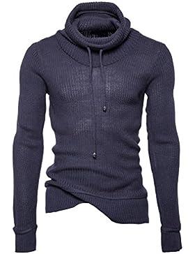 Honghu Casual Jersey para Hombre, Navidad Manga Larga Cuello Alto Suéter Top Tejido Sweater Gris oscuro L