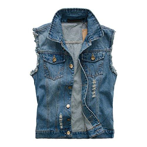 MISSMAOM Giacca Denim Uomo Retro Cappotto Jeans Senza Maniche Giacca Giubbotto Smanicato Blu XL