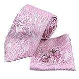 H6064 Pink Paisley Wedding Goods Silk Ties Cufflinks Hanky Groom Gifts Set 3PT By Y&G