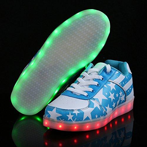 SAGUARO Damen Herren LED Leuchtet Sneaker USB Charging Blitzen Schuhe Turnschuhe Blau