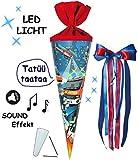 Unbekannt mit Sound Effekt & LED Licht ! - Schultüte -  Feuerwehr  - 70 cm - rund - incl. große Schleife - Filzabschluß - Zuckertüte - mit / ohne Kunststoff Spitze - ..