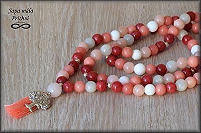 Japa Mala - Chapelet traditionnel de 108 perles, 1 grosse perle de gourou, tassel, pendentif - Jade (8mm)
