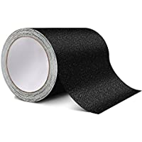 4Cinta de tracción antideslizante – mejor agarre, fricción, adhesivo abrasivo para escaleras, seguridad, paso, interior, 10 cm x 9 m - para exterior – negro , negro