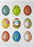 Colourful Easter Egg Design Large Cotton Tea Towel by Half a Donkey