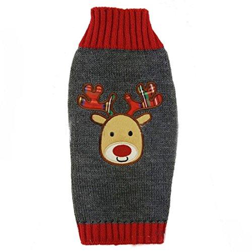 ihnachten grau & rot Hund Katze Warm Winter Gestrickt Rentier Jumper Rudolph Plaid Geweih (Lustige Niedliche Halloween-kostüm Ideen)