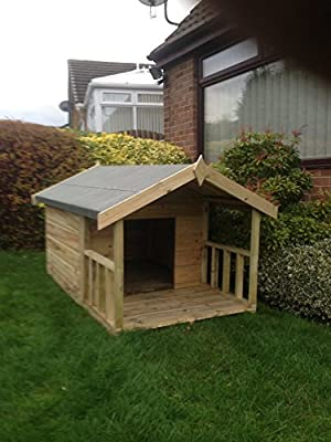 Pinelap Timber Products Ltd 3x3 Quality Wooden Apex Dog Kennel + 2ft front veranda (5x3) - Pressure Treated T&G by Pinelap Timber Products Ltd