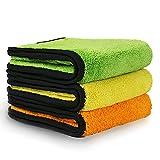 Handtuch Auto, VacPlus Extra dicke Mikrofaser Handtuch, KFZ-Reinigungshandtücher, Trockentuch&Poliertuch, mit sehr hoher Saugfähigkeit, 840gsm 【3 Stück】