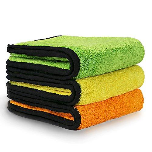 Preisvergleich Produktbild KFZ-Reinigung Handtücher, VacPlus Extra dicke Mikrofaser Handtuch, Trocknen Auto datailing Handtuch, Super Saugfähig, 840gsm (Pack von 3)