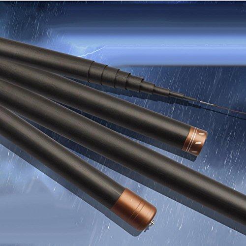 Q&D Schwarze Teleskop-Tragbare Lange Stange Ultra-Leichte Angelruten 8-15 Meter - Hoch-Kohlenstoff-Spinnangeln Angelruten Süßwasser Und Salzwasser , 15 M (Salzwasser-teleskop-stange)