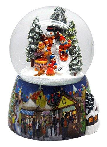 20062 Nostalgia-palla di neve con regalo carrozza e pupazzo di neve con Snow motion, LED e scatola musicale