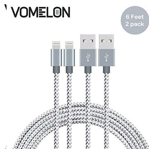 Preisvergleich Produktbild iPhone Ladekabel Lightning Kabel, [6FT-2Pack] Nylon geflochten iPhone USB Synchron- und Schnellkabel Datenkabel Kompatibel mit iPhone 7/7 Plus/6S/6 Plus, SE/5S/5, iPad, iPod Nano 7-[Grau + Weiß]