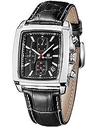 Megir Luxe - M2028GBK - Montre Homme - Quartz Analogique - Cadran Noir - Bracelet Cuir All Black - Chronographe