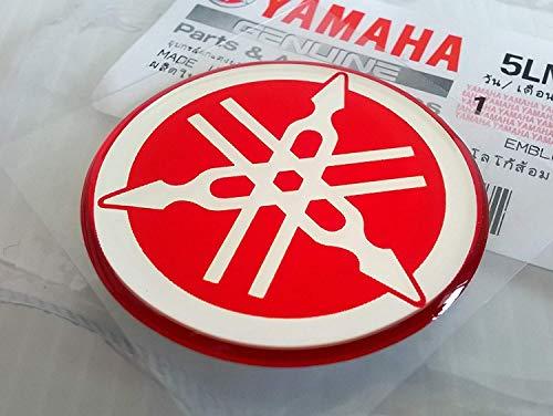 100% GENUINE 40mm Diametro YAMAHA TUNING FORCELLA Decalcomania Adesivo Emblema Logo ROSSO In rilievo A cupola A Gel Resina Autoadesivo Moto / Sci Nautico / ATV / Motoneve