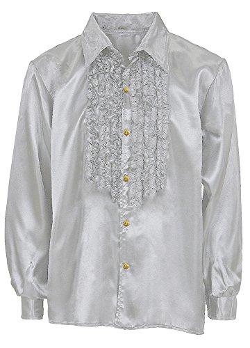 Das Kostümland Satin Rüschenhemd Johnny - Silber Gr. ()